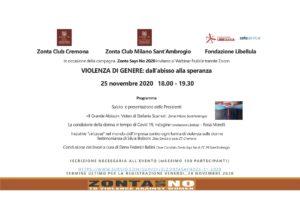 Zonta Says No - Campagna 2020-   WEBINAR congiunto di ZONTA Milano Sant'Ambrogio e ZONTA Cremona con la Fondazione LIBELLULA